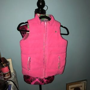Lilly Pulitzer girls reversible puffer vest 8/10